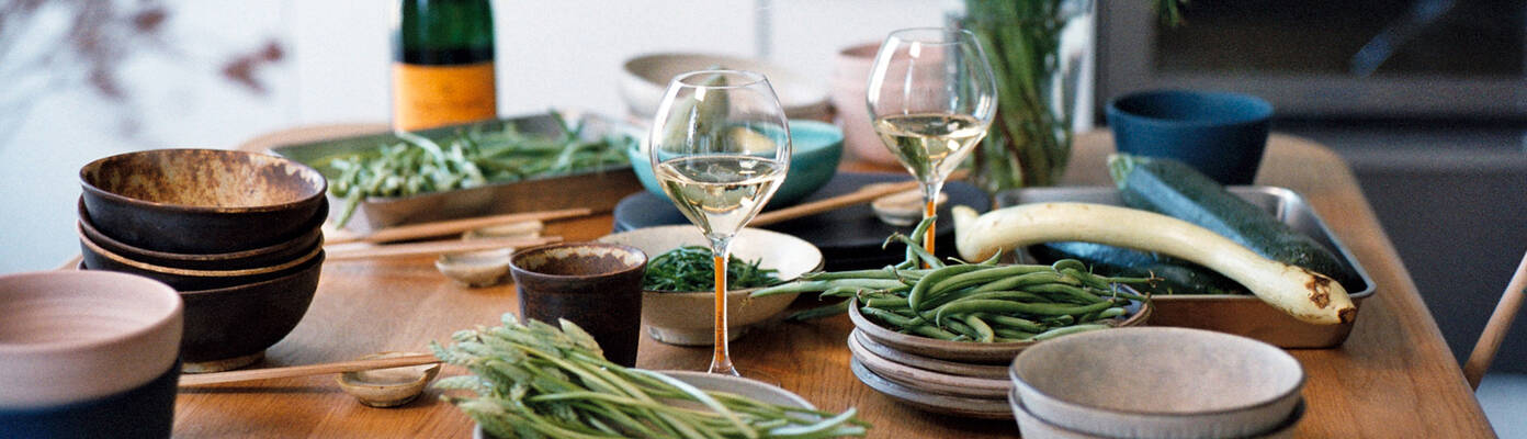 Wild asparagus, green beans, courgettes, and samphire simmered in seaweed butter
